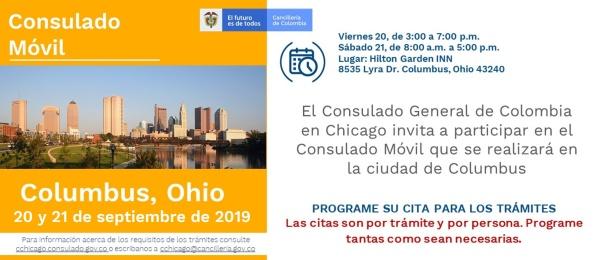 El Consulado de Colombia en Chicago realizará una jornada móvil en Columbus (Ohio), los días 20 y 21 de septiembre de 2019