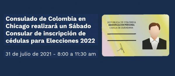 Consulado de Colombia en Chicago realizará Sábado Consular de inscripción de cédulas para as elecciones de 2022