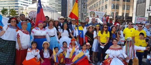 La delegación del Consulado de Colombia en Chicago participó en el desfile del Día de Cristóbal Colón