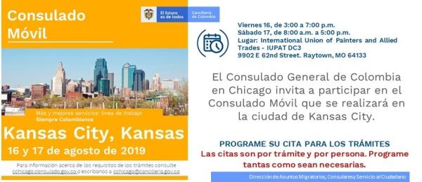 Consulado de Colombia en Chicago realizará la jornada móvil el 16 y 17 de agosto de 2019 en Kansas City